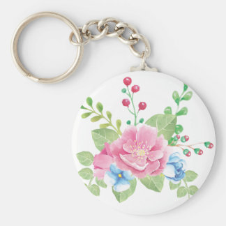Pretty Watercolor Floral Bouquet Keychain
