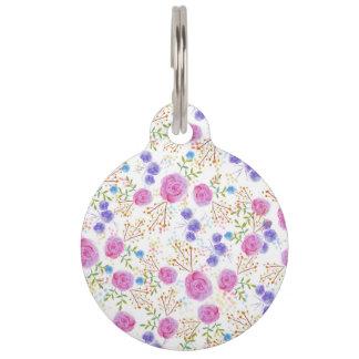 Pretty watercolor floral design pet ID tag