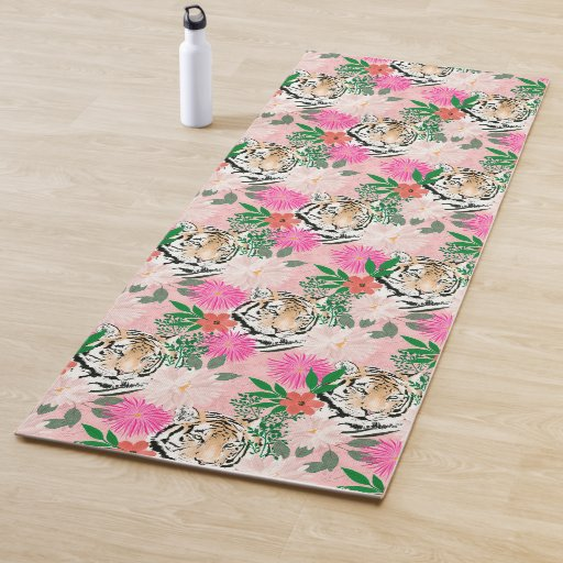 Pretty Watercolor Floral &Tiger Animal Pink Design Yoga Mat