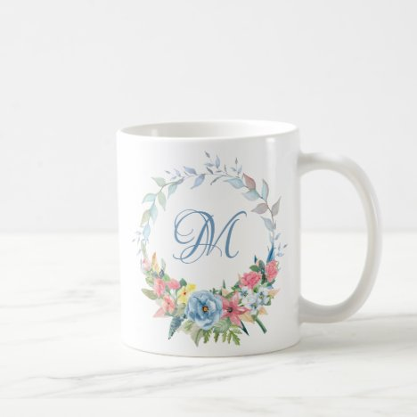 Pretty Watercolor Floral Wreath with Monogram Coffee Mug