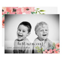 Pretty Watercolor Florals Mothers Day Photo Card