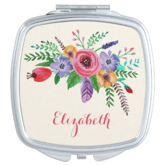 Pretty Watercolor Flower Bouquet Custom Name Mirror For Makeup