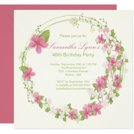 Pretty Watercolor Flower Wreath Birthday Party Card