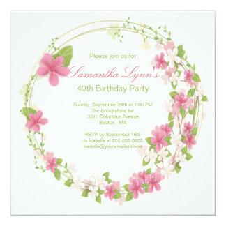 Pretty Watercolor Flower Wreath Birthday Party Card