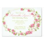 Pretty Watercolor Flower Wreath Birthday Party Invite