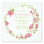 Pretty Watercolor Flower Wreath Birthday Party Custom Invite