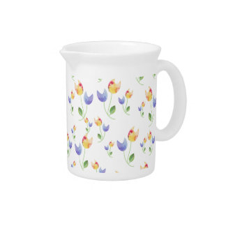 Pretty Watercolor Flowers Pattern Drink Pitcher