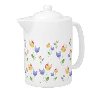 Pretty Watercolor Flowers Pattern Teapot