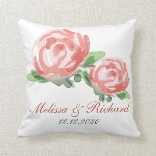 Pretty Watercolor Flowers Wedding Keepsake Throw Pillow