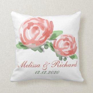 Pretty Watercolor Flowers Wedding Keepsake Throw Pillows