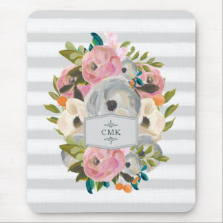 Pretty Watercolor Flowers with Chic Gray Stripes Mouse Pad