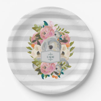 Pretty Watercolor Flowers with Chic Gray Stripes Paper Plate