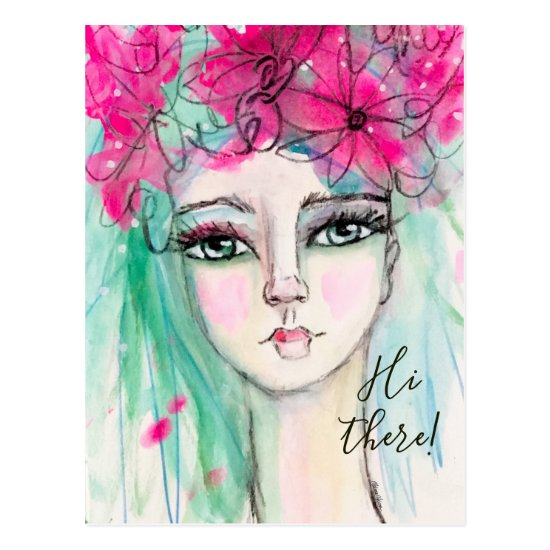 Pretty Watercolor Girl Pink Flowers Whimsical Art Postcard