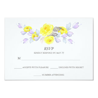 Pretty Watercolor Gray Yellow Purple Roses RSVP Card