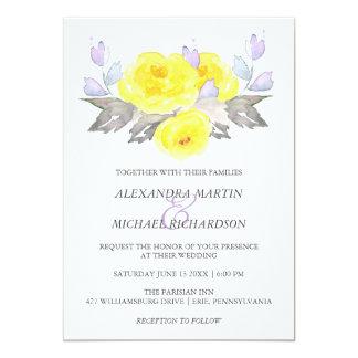 Pretty Watercolor Gray Yellow Purple Roses Wedding Card