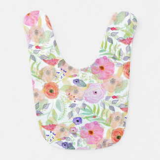 Pretty watercolor hand paint abstract floral bib