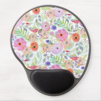 Pretty watercolor hand paint abstract floral gel mouse pad