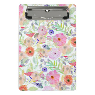 Pretty watercolor hand paint abstract floral mini clipboard
