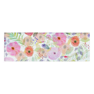 Pretty watercolor hand paint abstract floral name tag