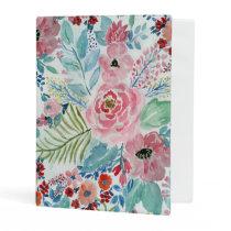 Pretty watercolor hand paint floral artwork mini binder