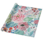 Pretty Watercolor Hand Paint Floral Artwork Wrapping Paper at Zazzle
