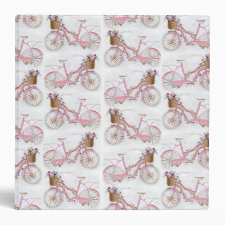Pretty watercolor hand paint vintage bicycle binder