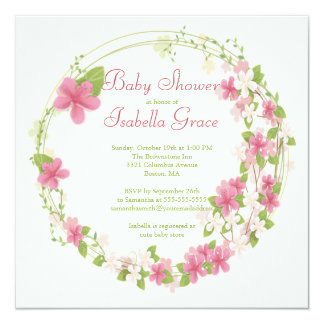 Pretty Watercolor Pink Floral Wreath Baby Shower Personalized Announcement