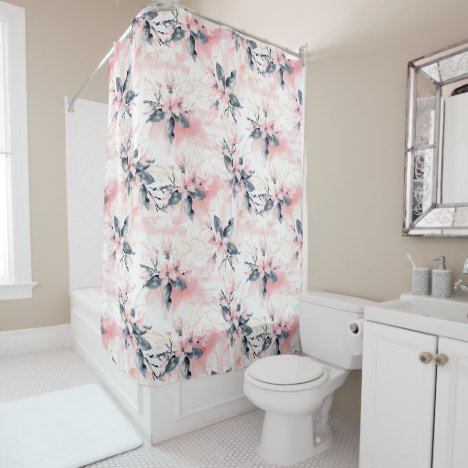 Pretty Watercolor Pink Flowers Floral Pattern Shower Curtain
