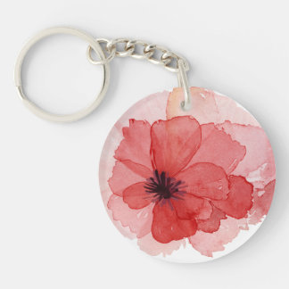 Pretty Watercolor Pink Red Poppy Flower Keychain