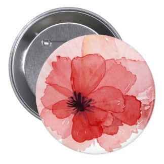Pretty Watercolor Pink Red Poppy Flower Pinback Button