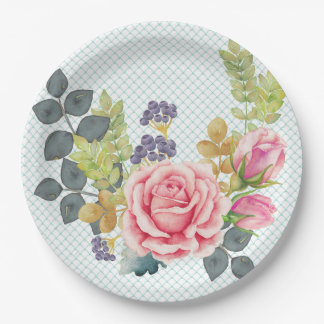 Pretty Watercolor Pink Rose Bouquet Paper Plate