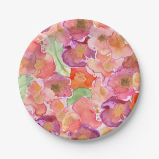 Pretty Watercolor Poppies Paper Plate