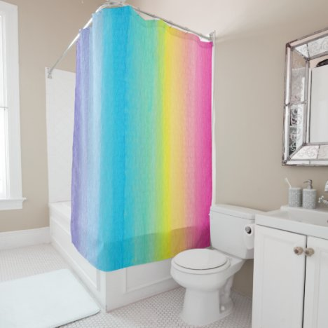Pretty Watercolor Rainbow Shower Curtain