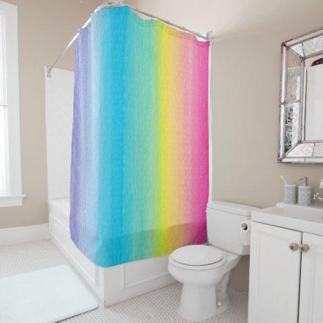 Pretty Watercolor Rainbow Shower Curtain