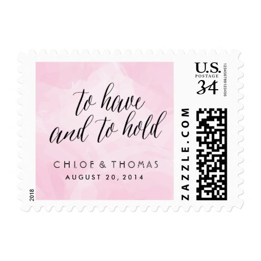 Pretty Watercolor Script Postcard Postage Stamps Postage Stamps