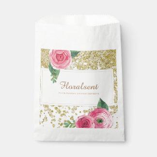 Pretty Watercolour Roses and Glitter Favor Bag