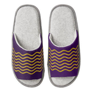 Pretty Waves gold + your backgr., text & ideas Pair Of Open Toe Slippers
