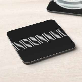 Pretty Waves silver + your backgr., text & ideas Beverage Coaster