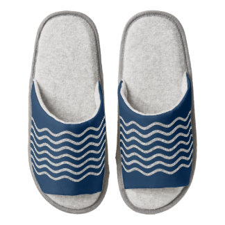 Pretty Waves silver + your backgr., text & ideas Pair Of Open Toe Slippers