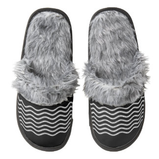 Pretty Waves silver + your backgr., text & ideas Pair Of Fuzzy Slippers