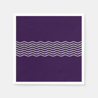 Pretty Waves silver + your backgr., text & ideas Paper Napkin