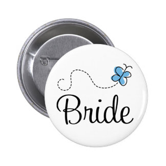 Pretty Wedding Day Bride Blue Button