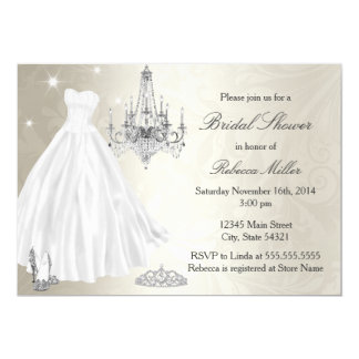 Pretty Wedding Dress Bridal Shower Cream White Card