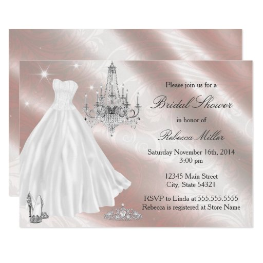 Pretty Wedding Dress Bridal Shower Invite