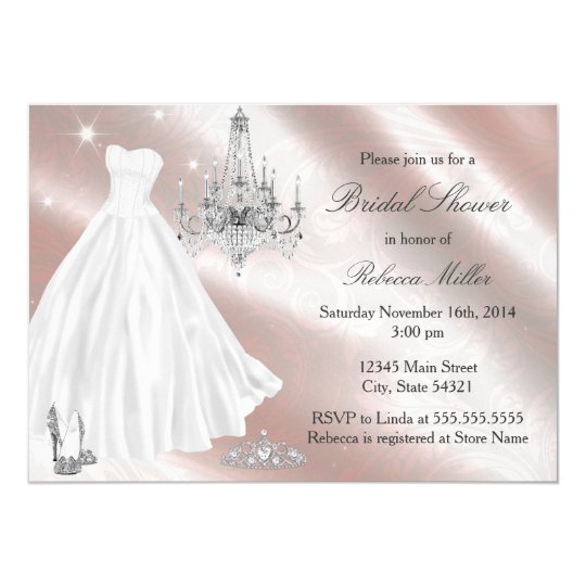 Pretty wedding dress bridal shower invite for Wedding dresses for invited guests