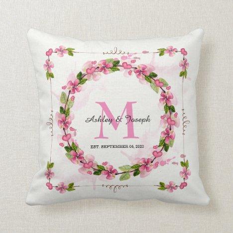 Pretty Wedding Floral Watercolor Wreath Monogram Throw Pillow