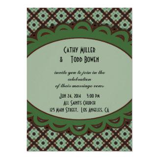 Pretty Wedding Green Brown CrissCross Pattern Card