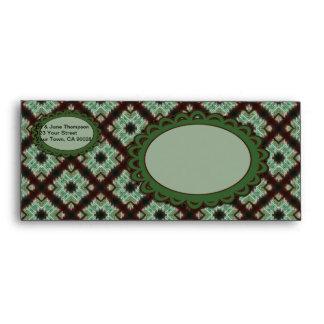 pretty wedding green brown crisscross pattern envelope