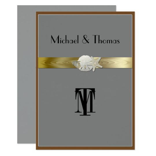 Pretty Wedding Invitation, Starfish, Sand Dollar