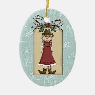 Pretty Western Cowgirl Gift Tag Keepsake Ceramic Ornament